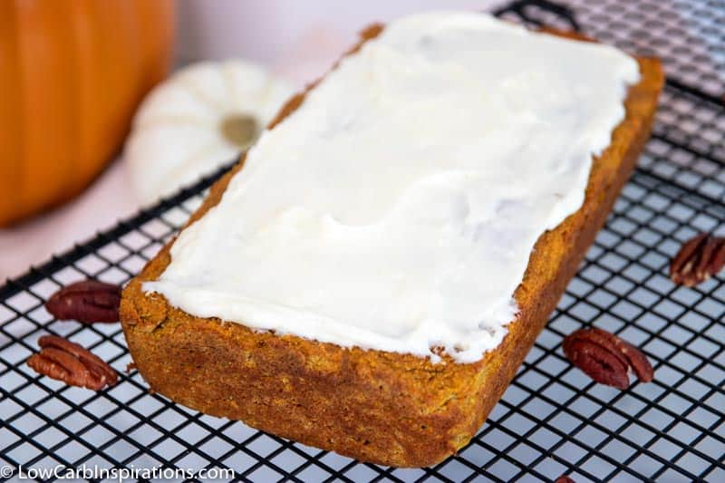 Low Carb Pumpkin Bread with Cream Cheese Frosting