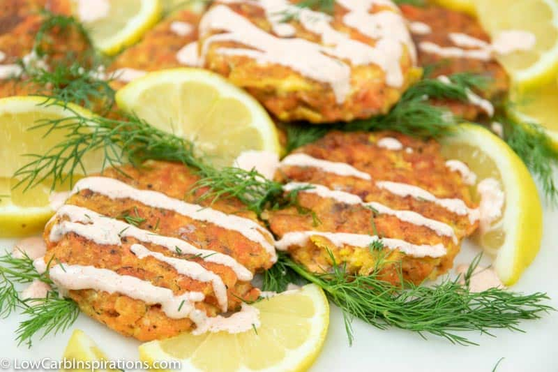 Easy Low Carb Salmon Cakes Recipe with Creamy Garlic Sauce