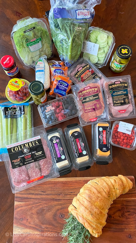 All items I used in my keto charcuterie board