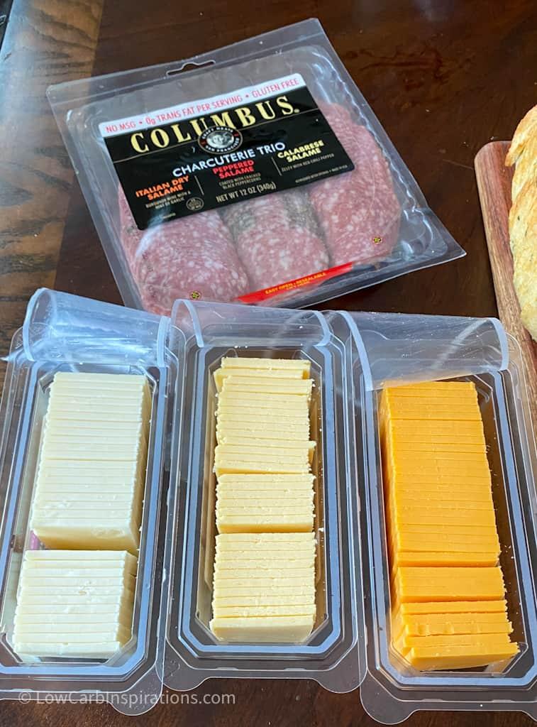 Sliced Cheese used in the Easy Keto Charcuterie Board with keto cornucopia brea