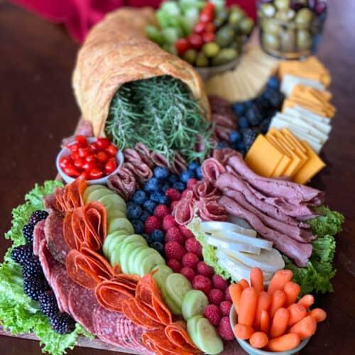 Easy Keto Charcuterie Board with keto cornucopia bread
