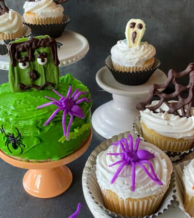 Halloween Keto Cupcakes made with sugar free melted chocolate designs!