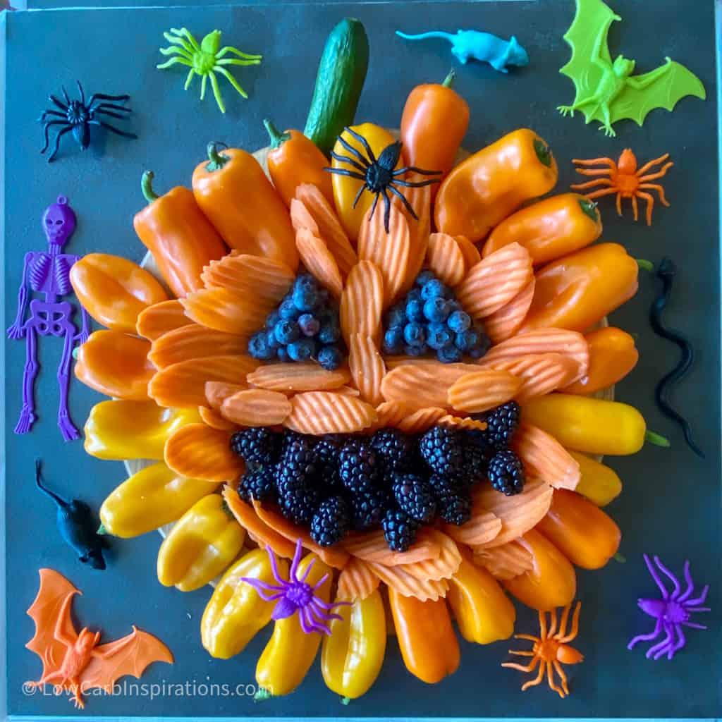 Keto Halloween Pumpkin Charcuterie Board