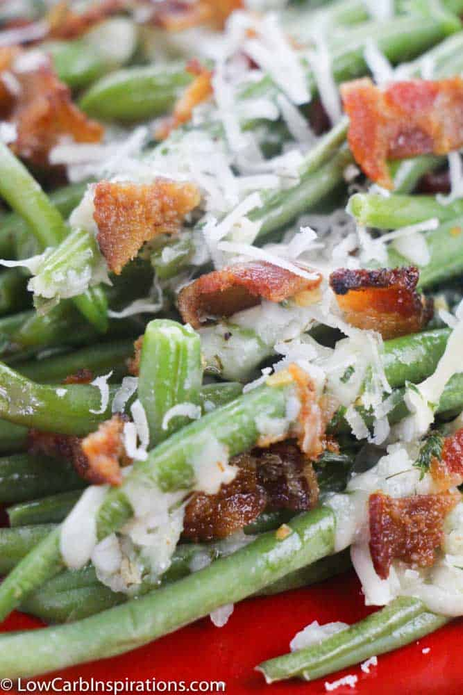 Oven Baked Green Beans with Parmesan Bacon and Ranch