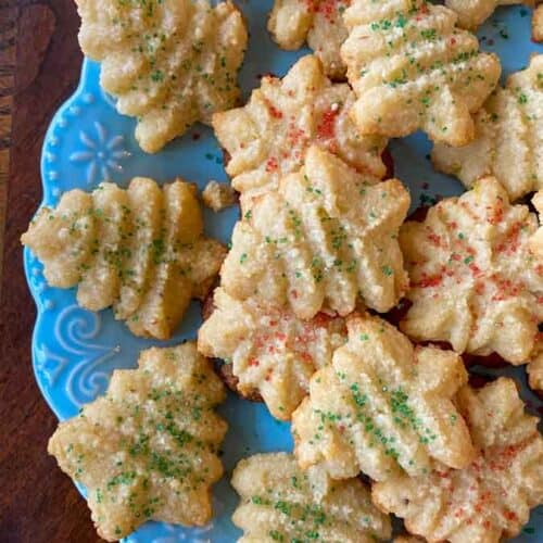 Easy Keto Spritz Cookies On blue plate