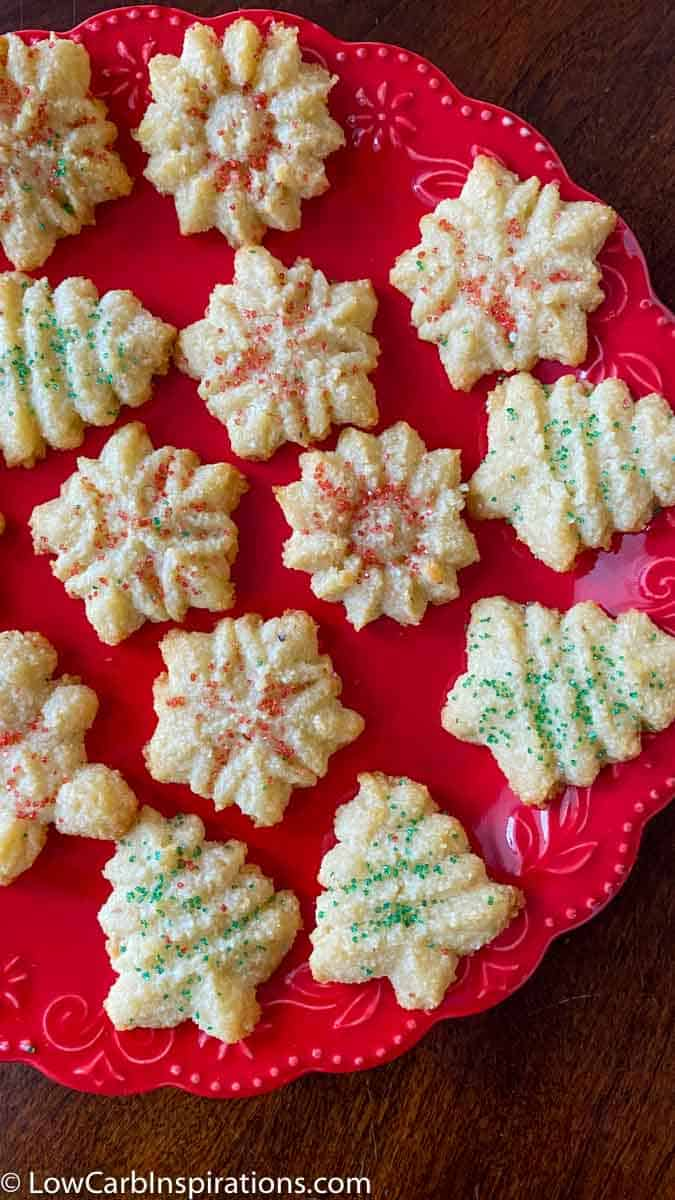Easy Keto Spritz Cookies Recipe made with a cookie press
