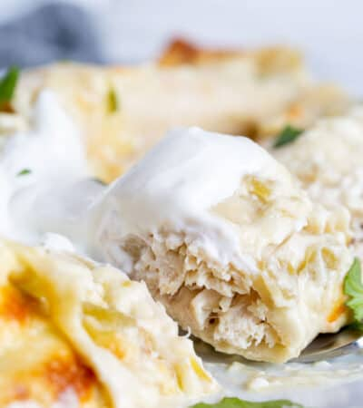 Keto White Chicken Enchiladas with Cream Sauce