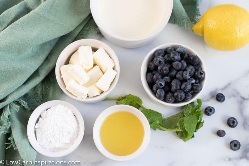 No Bake Keto Lemon Mousse Recipe ingredients on a table