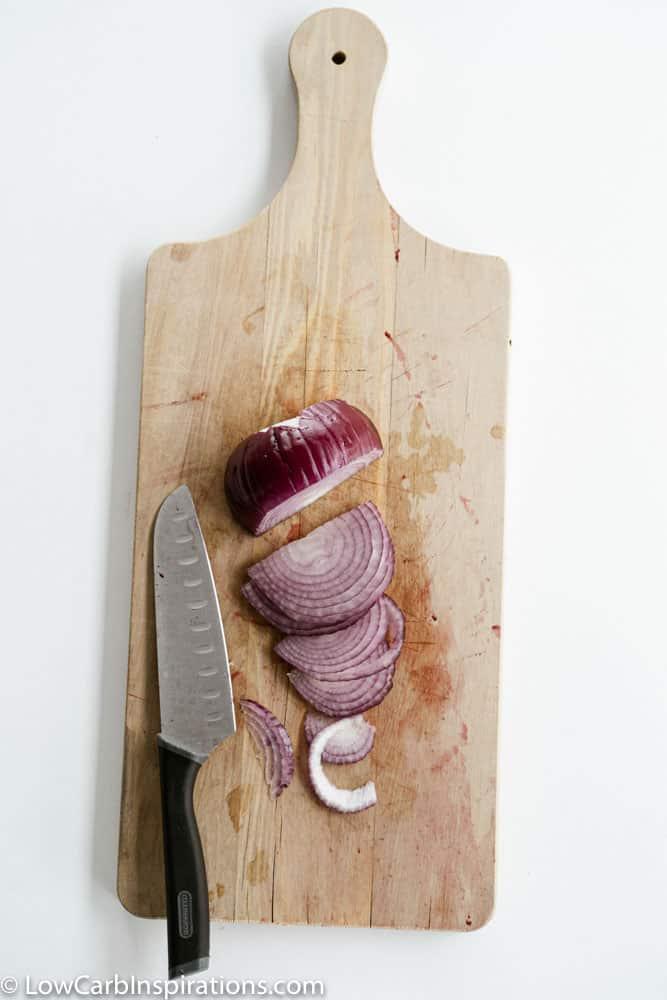 Chopped Red Onion on a cutting board