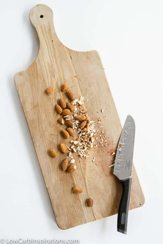 Chopped Almonds on a cutting board