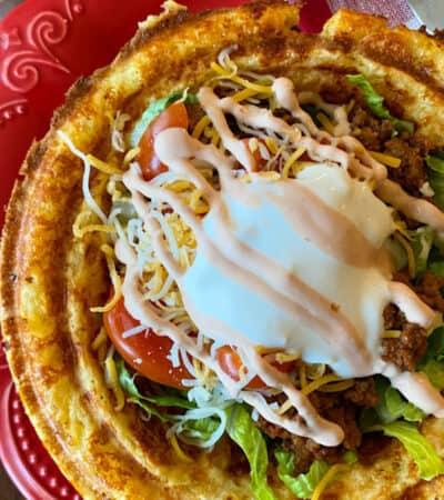 Taco salad cheese bowl close up