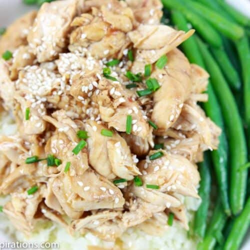 overhead close up photo of keto crockpot bourbon chicken served with fresh cooked green beans