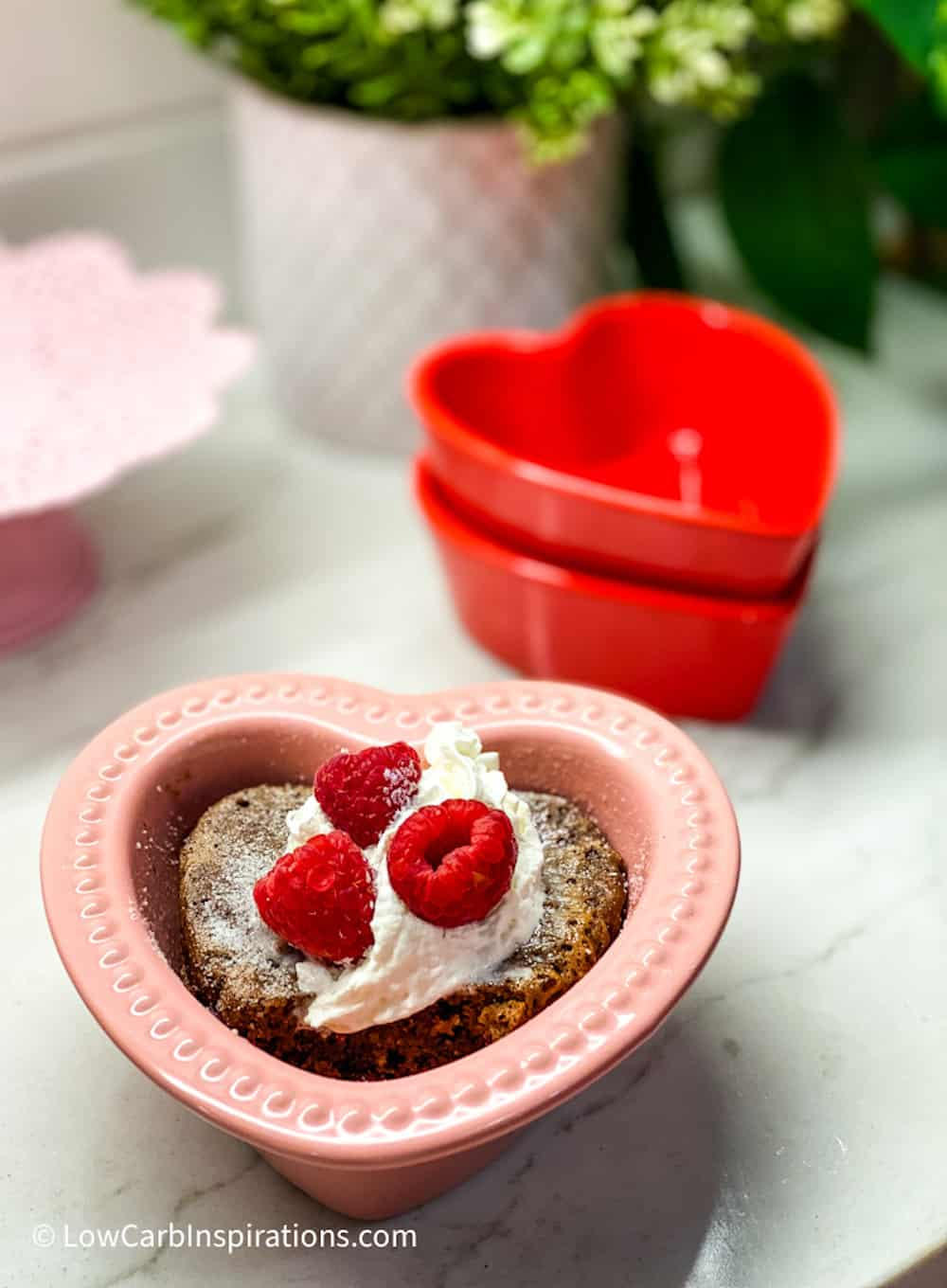 Chocolate cake in a pink heart shaped pan
