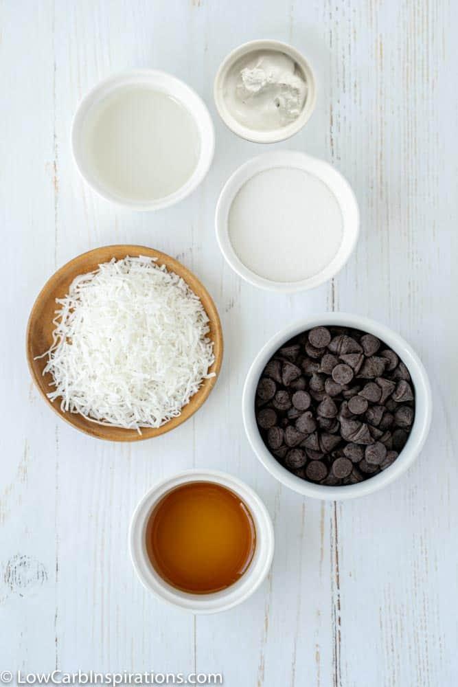 bon bon recipe ingredients in white bowls on a table