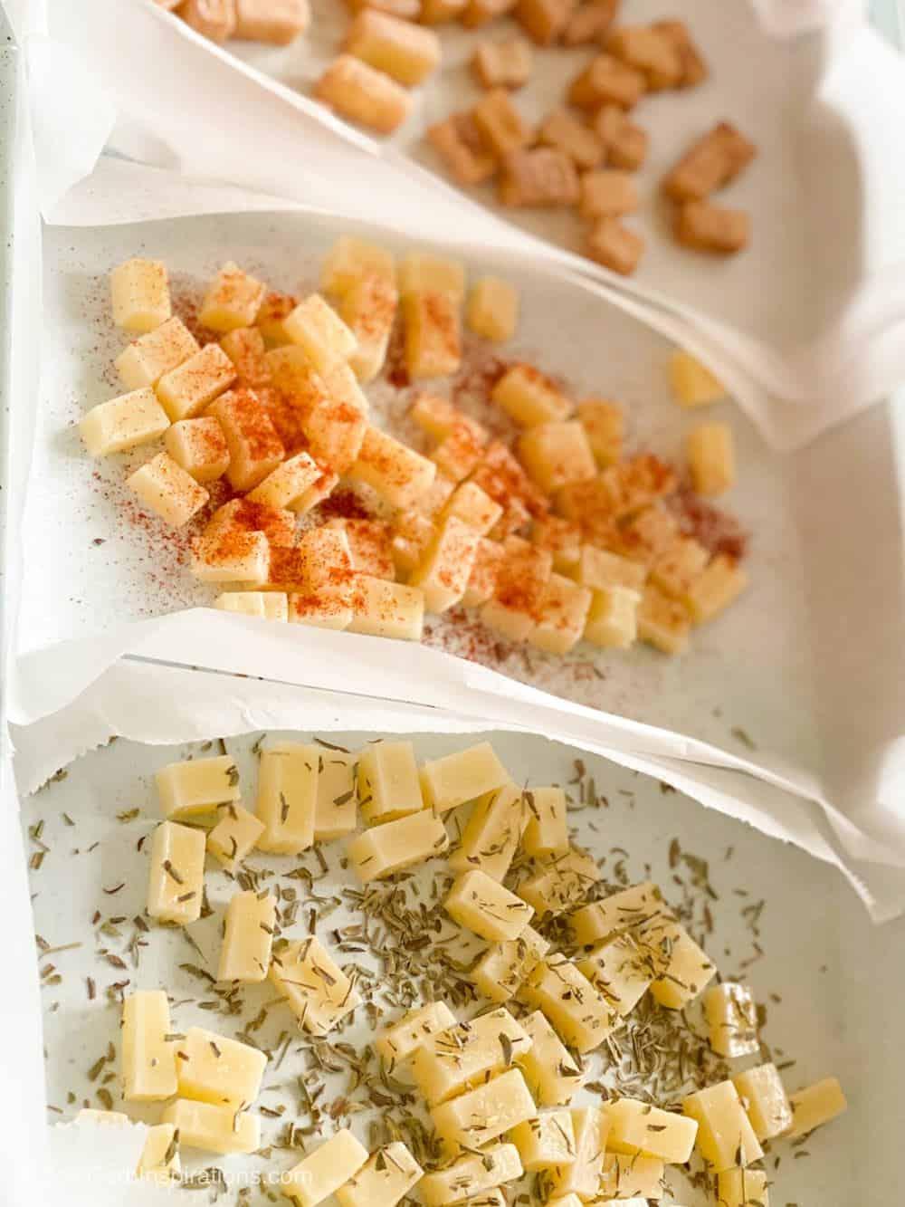 Seasoned cheese cubes