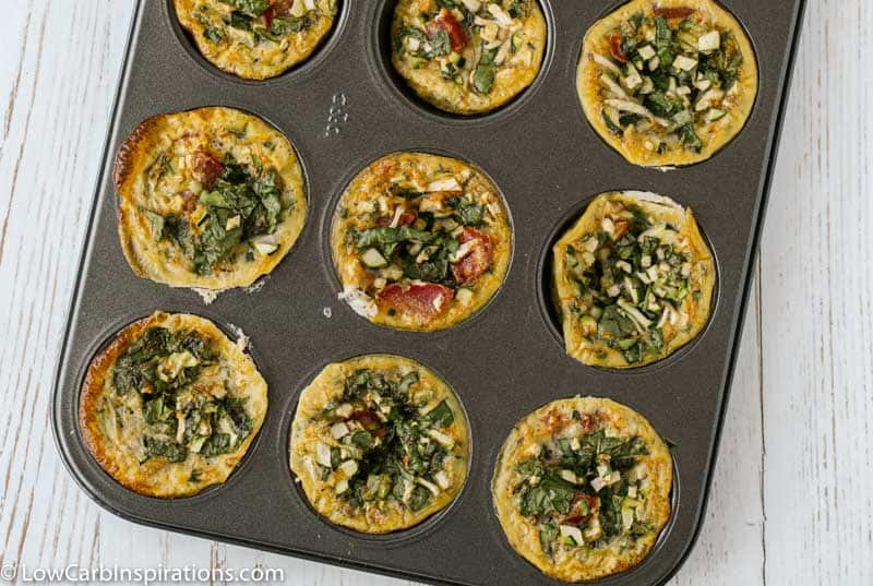 close up of cooked zucchini egg recipe in a muffin pan