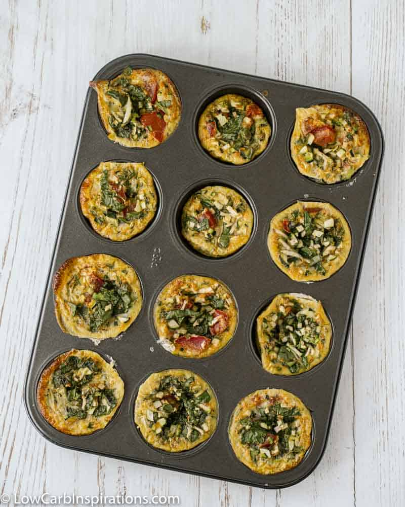 overhead photo of cooked zucchini egg recipe in a muffin pan