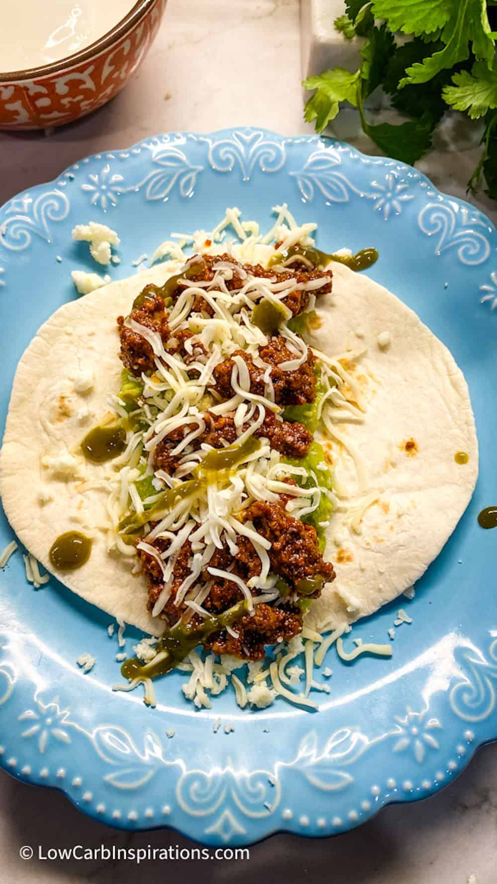Taco on a blue plate