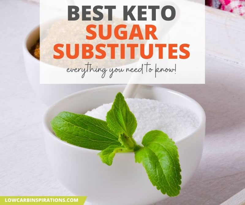 keto sweeteners in a white bowl with stevia leaves
