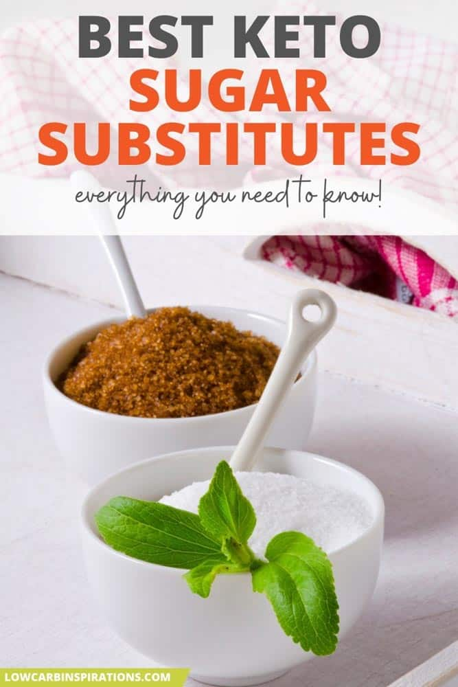 keto sugar substitutes for keto in a white bowl with a spoon and stevia leaves