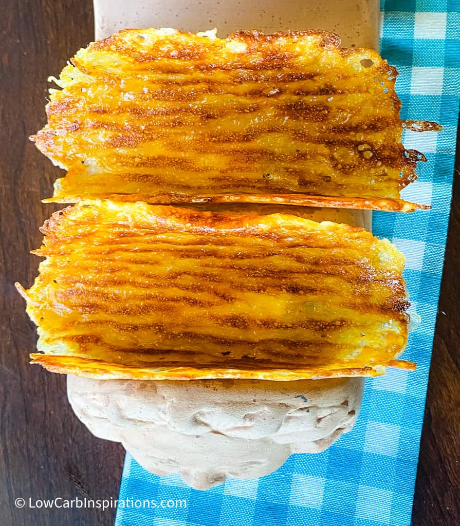 Cheese Taco Shells made on the Blackstone Griddle Grill