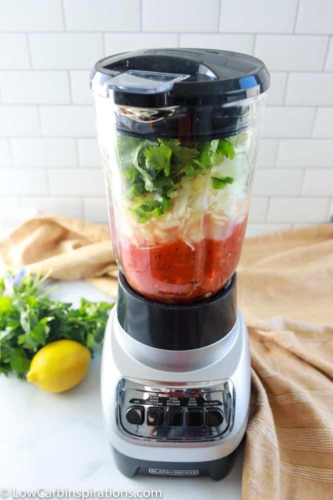 homemade salsa recipe in a blender ready to blend