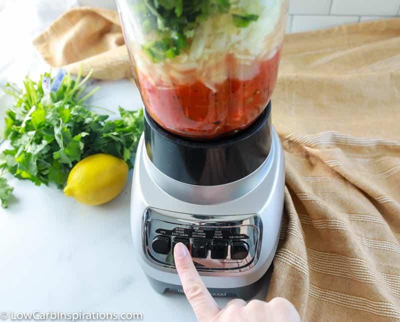 homemade salsa recipe in a blender mixing