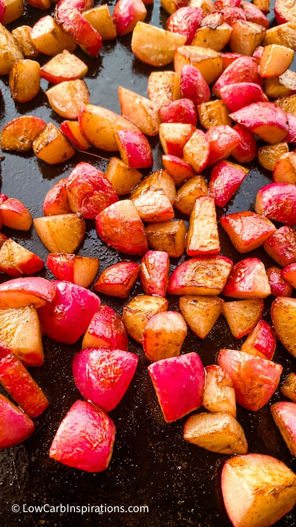 Fully cooked radishes we made on the bbq grill