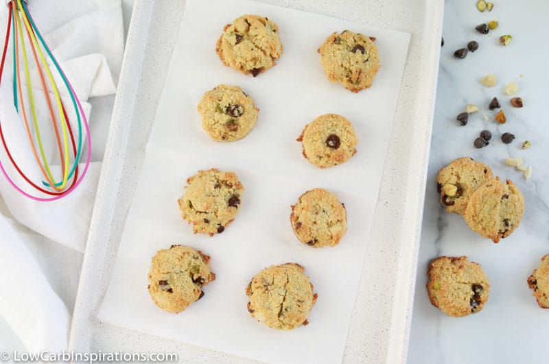 baked sweet and salty cookies on a baking sheet lined with parchment paper