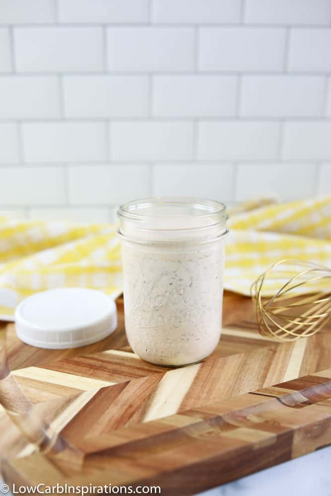 ranch dressing recipe mixed together stored in a mason jar