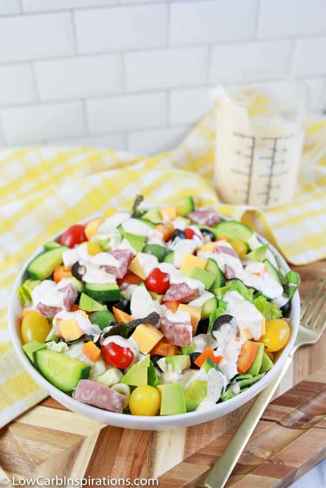 keto dressing recipe on a salad with ranch salad dressing on the side