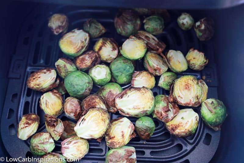 crispy brussel sprouts in an air fryer