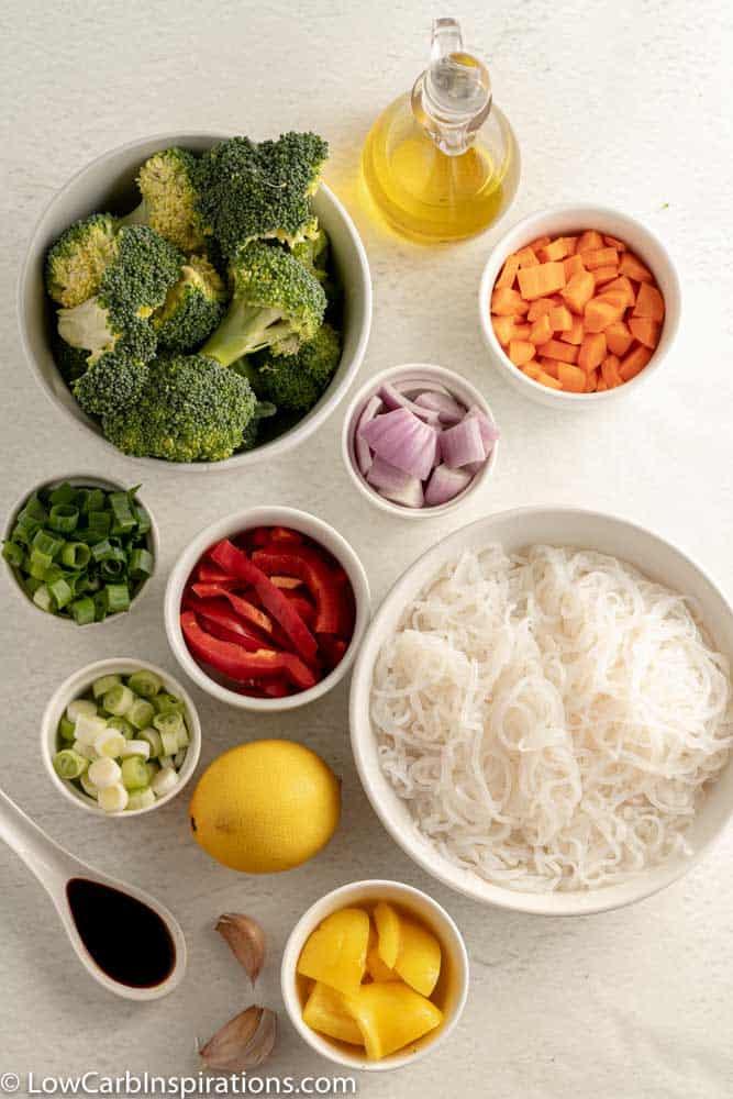 Stir Fry Vegetables with Low Carb Noodles ingredients