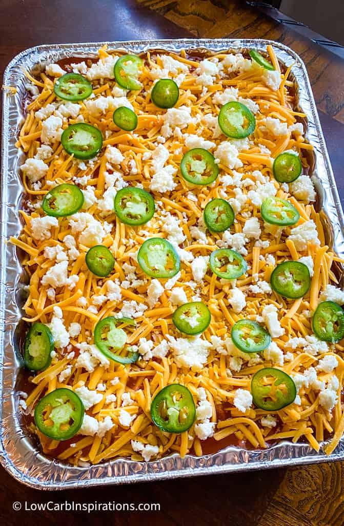 Close up of precooked enchiladas