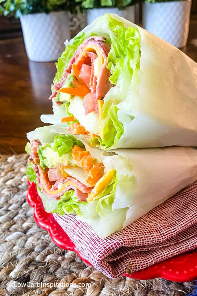 Lettuce Wrapped Sandwich ideas:  Low carb and keto friendly