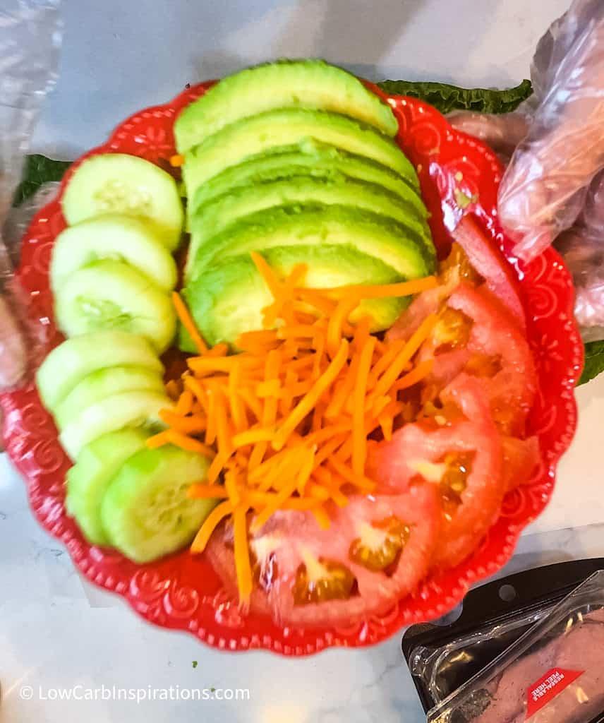 Vegegtable options for Lettuce Wrap Sandwich