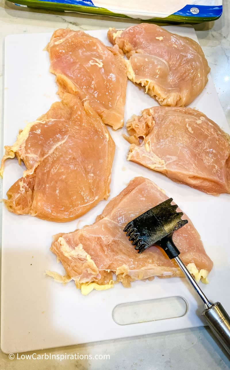 Use a meat mallet to pound chicken to make them the same size