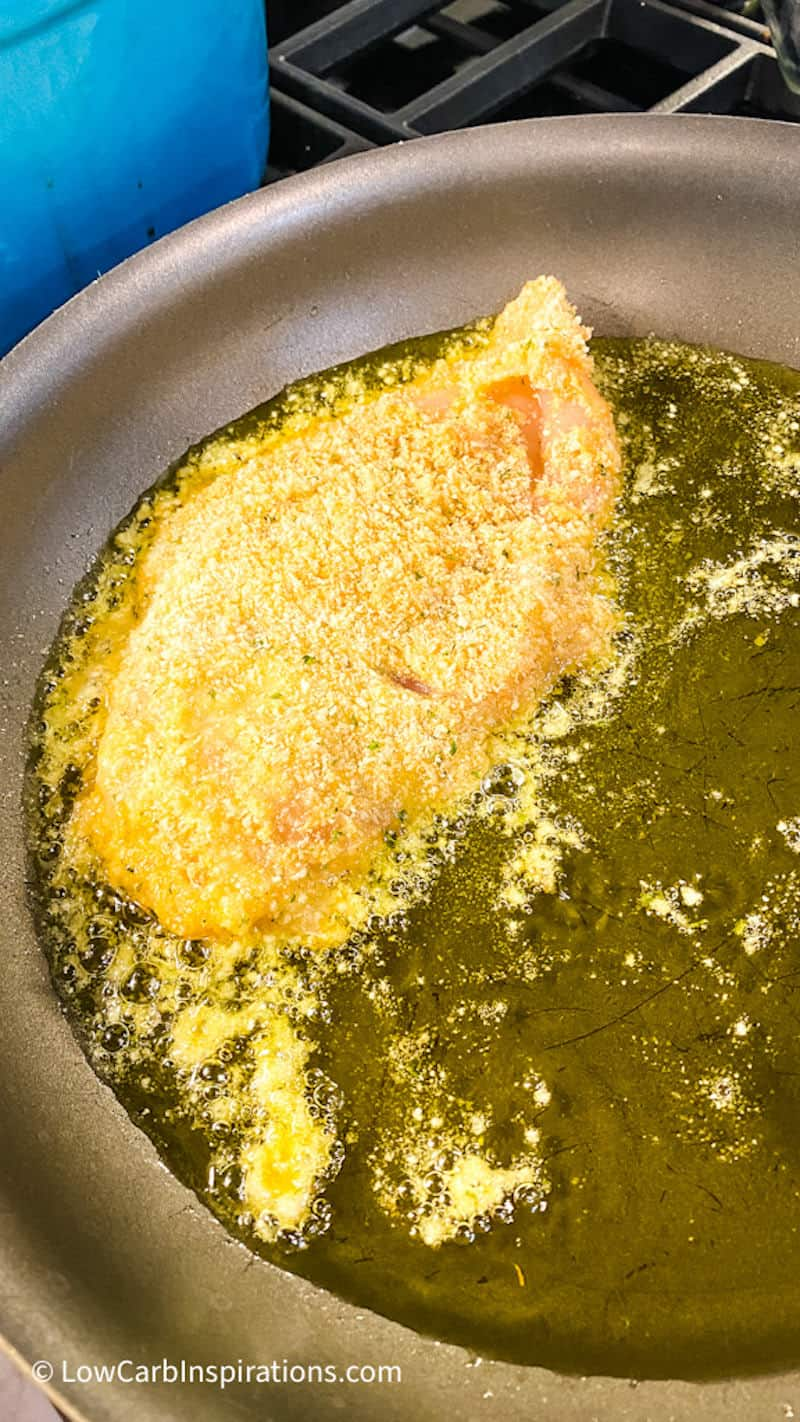 Frying pan filled with oil and hot