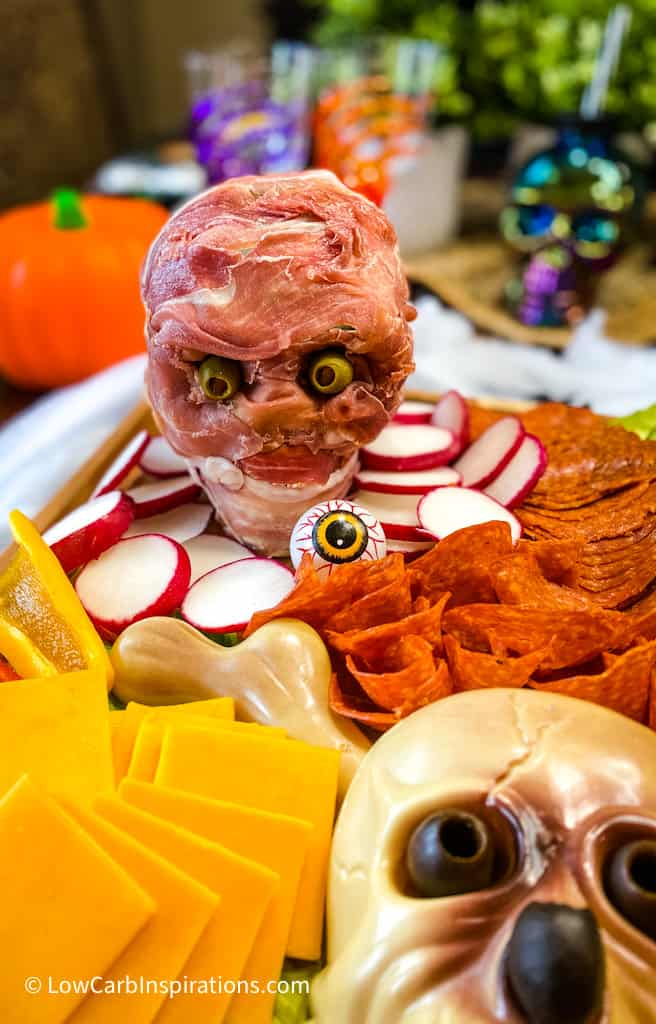 Halloween Skeleton head display on a charcuterie board