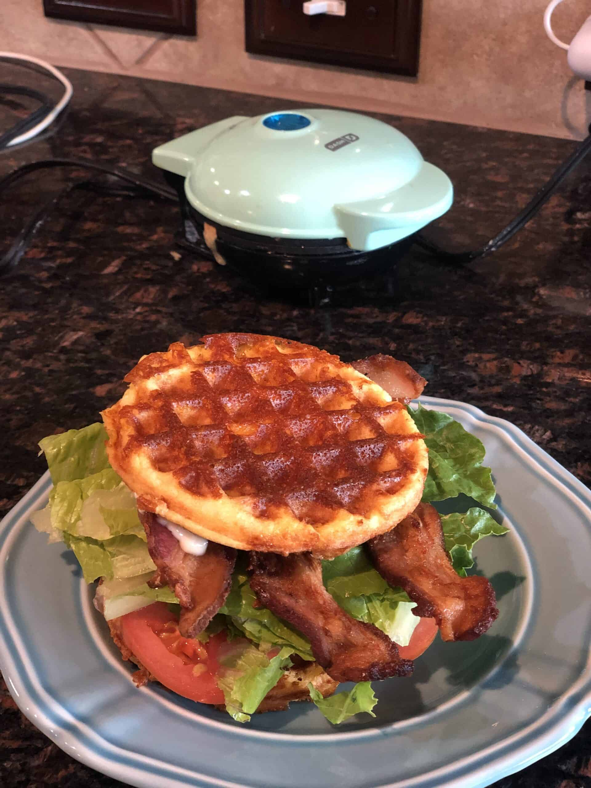 Keto Lunch Ideas are homemade chaffle blt sandwich